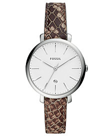 Fossil Women's Mini Jacqueline Gray Leather Strap Watch 36mm