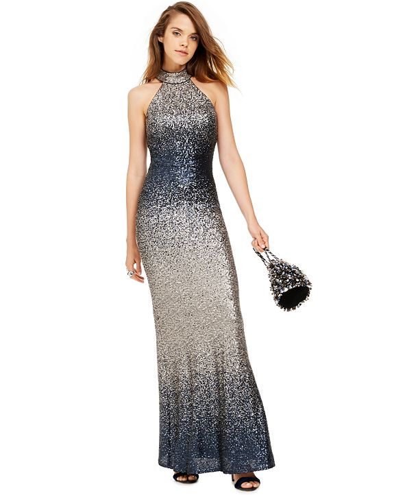 Betsy & Adam Ombré Sequined Gown