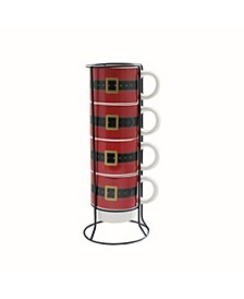 Santa's Belt 5 Piece Mug Set w/ Metal Rack