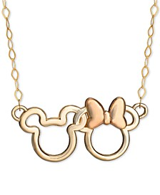 "Children's Minnie & Mickey Interlocked 15"" Pendant Necklace in 14k Gold & Rose Gold"