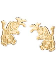 Children's Frozen Olaf Stud Earrings in 14k Gold