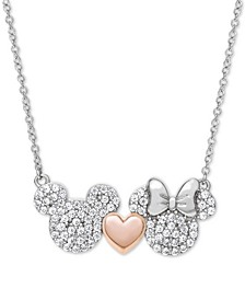 """Children's Cubic Zirconia Mickey & Minnie Heart 18"""" Pendant Necklace in Sterling Silver & 18k Rose Gold-Plate"""