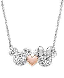 """Disney© Children's Cubic Zirconia Mickey & Minnie Heart 18"""" Pendant Necklace in Sterling Silver & 18k Rose Gold-Plate"""
