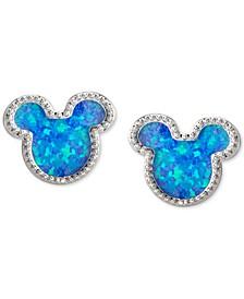 Children's Cubic Zirconia Mickey Mouse Stud Earrings in Sterling Silver