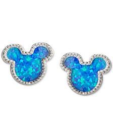 Disney© Children's Cubic Zirconia Mickey Mouse Stud Earrings in Sterling Silver