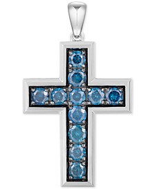 Men's Blue Diamond Cross Pendant (4-3/8 ct. t.w.) in 10k White Gold