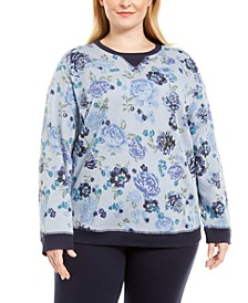 Plus Size Printed Fleece Crewneck Top, Created for Macy's
