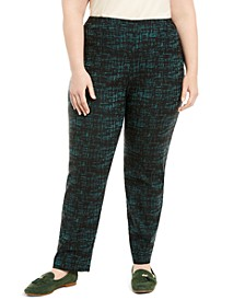 Plus Size Jacquard Pull-On Pants, Created for Macy's