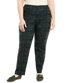 JM Collection Plus Size Jacquard Pull-On Pants, Created for Macy's