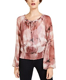 INC Metallic Printed Smocked Peasant Top, Created for Macy's