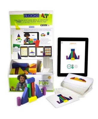 Stages Learning Materials Language Builder Block Imitation Kit, 120 Pretend Play Flashcards, 40 Wood Blocks, IPad App