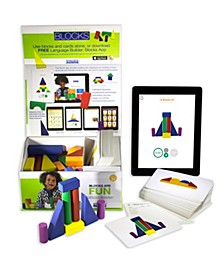 Language Builder Block Imitation Kit, 120 Pretend Play Flashcards, 40 Wood Blocks, IPad App