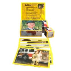Stages Learning Materials Real Picture Community Helpers Wooden Cube Puzzle 12 pieces