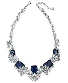 """Silver-Tone Crystal & Stone Cluster Statement Necklace, 18"""" + 2"""" extender, Created for Macy's"""