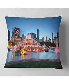 "Designart Colorful Buckingham Fountain Cityscape Throw Pillow - 26"" x 26"""