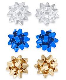 Multi-Tone 3-Pc. Set Bow Stud Earrings, Created For Macy's