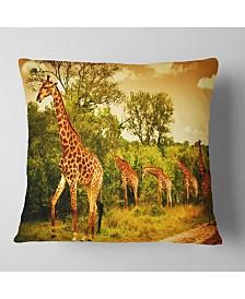 """Designart South African Giraffes African Throw Pillow - 26"""" x 26"""""""