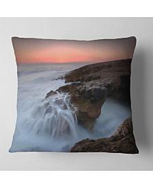 "Designart White Waters Seashore Throw Pillow - 26"" x 26"""