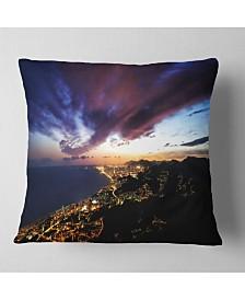 "Designart Barcelona Skyline Panorama Cityscape Throw Pillow - 26"" x 26"""