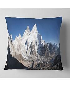 "Designart Mount Everest Glacier Panorama Landscape Printed Throw Pillow - 16"" x 16"""