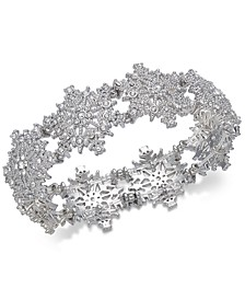 Silver-Tone Crystal Snowflake Stretch Bracelet, Created For Macy's
