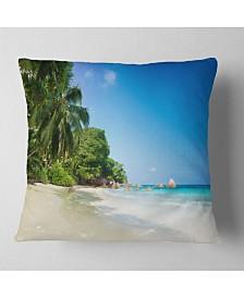 "Designart Beautiful Praslin Island Seychelles Seascape Throw Pillow - 18"" x 18"""
