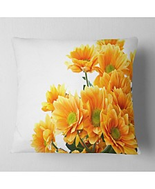 "Designart Orange Flowers Chrysanthemum Floral Throw Pillow - 26"" x 26"""