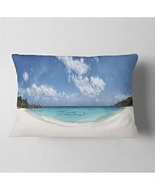 "Designart Majestic Seychelles Beach Panorama Seascape Throw Pillow - 12"" x 20"""