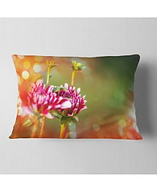 "Designart Pink Flowers on Blurred Background Flower Throw Pillow - 12"" x 20"""