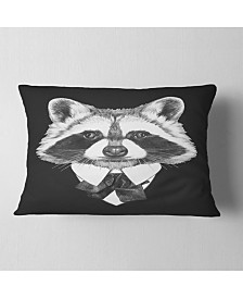 """Designart Funny Raccoon in Suit and Tie Animal Throw Pillow - 12"""" x 20"""""""