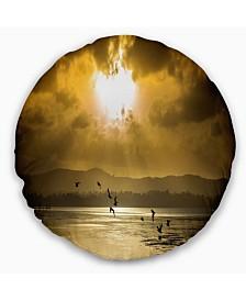"Designart Glittering Sun Among heavy Clouds Seashore Throw Pillow - 16"" Round"