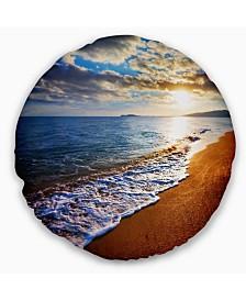 "Designart Heavy Clouds Over Morning Beach Seashore Throw Pillow - 16"" Round"