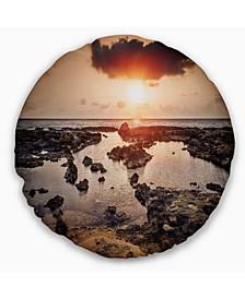 "Rocky Coastline Sunset Africa Oversized Beach Throw Pillow - 16"" Round"