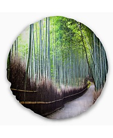 """Designart Kyoto Bamboo Forest Pathway Forest Throw Pillow - 16"""" Round"""