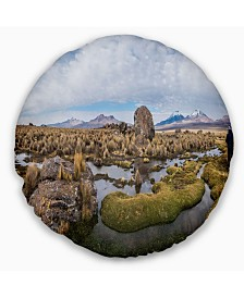 "Designart Bolivia Volcanoes Panoramic View Landscape Printed Throw Pillow - 16"" Round"