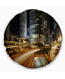 """Designart Skyscrapers and Busy Traffic Cityscape Throw Pillow - 16"""" Round"""