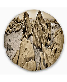 "Designart Rocky Praslin Seychelles Panorama Landscape Printed Throw Pillow - 16"" Round"