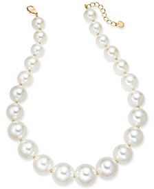 "Gold-Tone Oversize Imitation Pearl Collar Necklace, 18"" + 2"" extender, Created For Macy's"