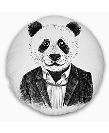 "Designart Funny Hipster Panda Black White Animal Throw Pillow - 16"" Round"