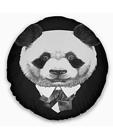 "Designart Funny Panda in Suit and Tie Animal Throw Pillow - 16"" Round"
