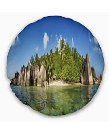 "Designart Anse Lazio Beach Seychelles Panorama Seashore Throw Pillow - 20"" Round"