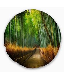 "Designart Arashiyama Bamboo Grove Japan Oversized Forest Throw Pillow - 20"" Round"
