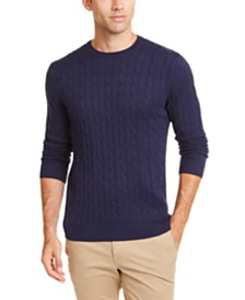Club Room Men's Cable Crewneck Sweater, Created for Macy's