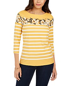 Striped and Floral-Print Top, Created for Macy's
