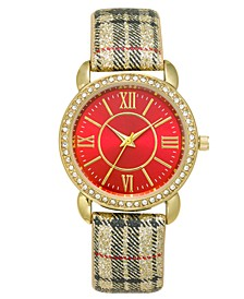Women's Plaid Strap Watch 36mm, Created For Macy's