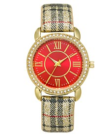 Holiday Lane Women's Plaid Strap Watch 36mm, Created For Macy's