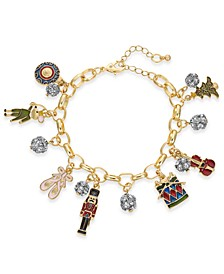 Gold-Tone Pavé Nutcracker Charm Bracelet, Created For Macy's