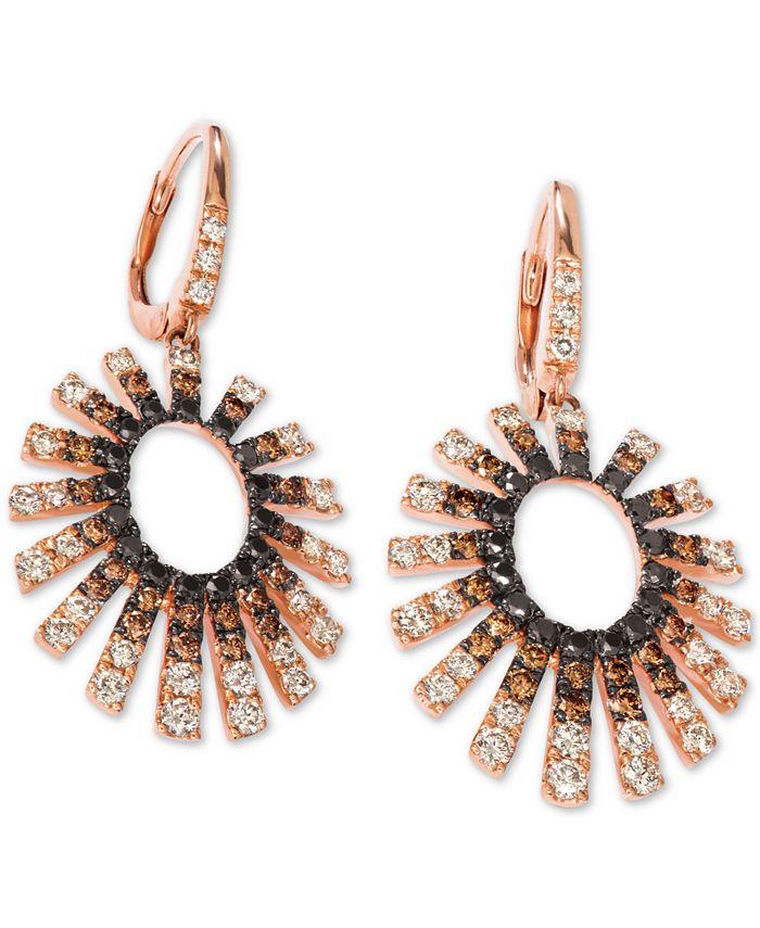 Le Vian - Diamond Sunburst Drop Earrings (2 ct. t.w.) in 14k Rose Gold