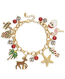 Gold-Tone Crystal & Imitation Pearl Holiday Sealife Charm Bracelet, Created For Macy's