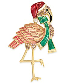 Gold-Tone Pavé & Imitation Pearl Flamingo Pin, Created for Macy's